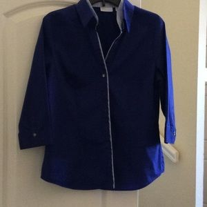 Royal blue and baby blue lined button down shirt.